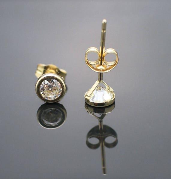 14K Yellow Gold 5.6mm Bezel cz Lab Created Diamond Earrings