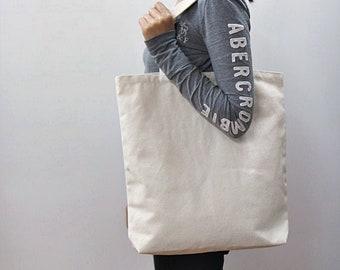 """16"""" * 17"""" Plain unbleached Cotton canvas tote bag, Sturdy tote bag, Market bag, Eco friendly cotton fabric, Style#104"""