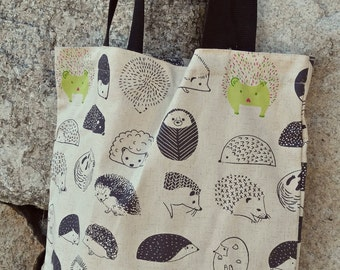 Hedgehog Printed 100% Cotton canvas bag / long straps