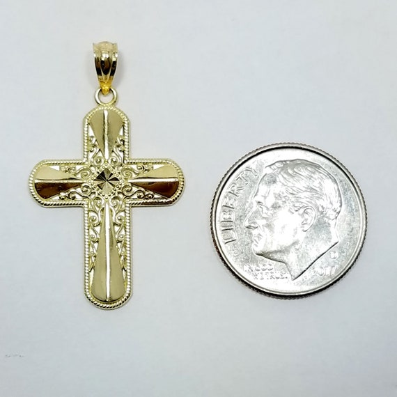 14k White And Yellow Gold Cross Religious Pendant Charm