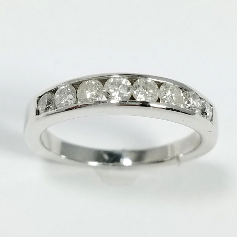 14k White Gold Diamond Wedding Band Anniversary Ring Channel Etsy