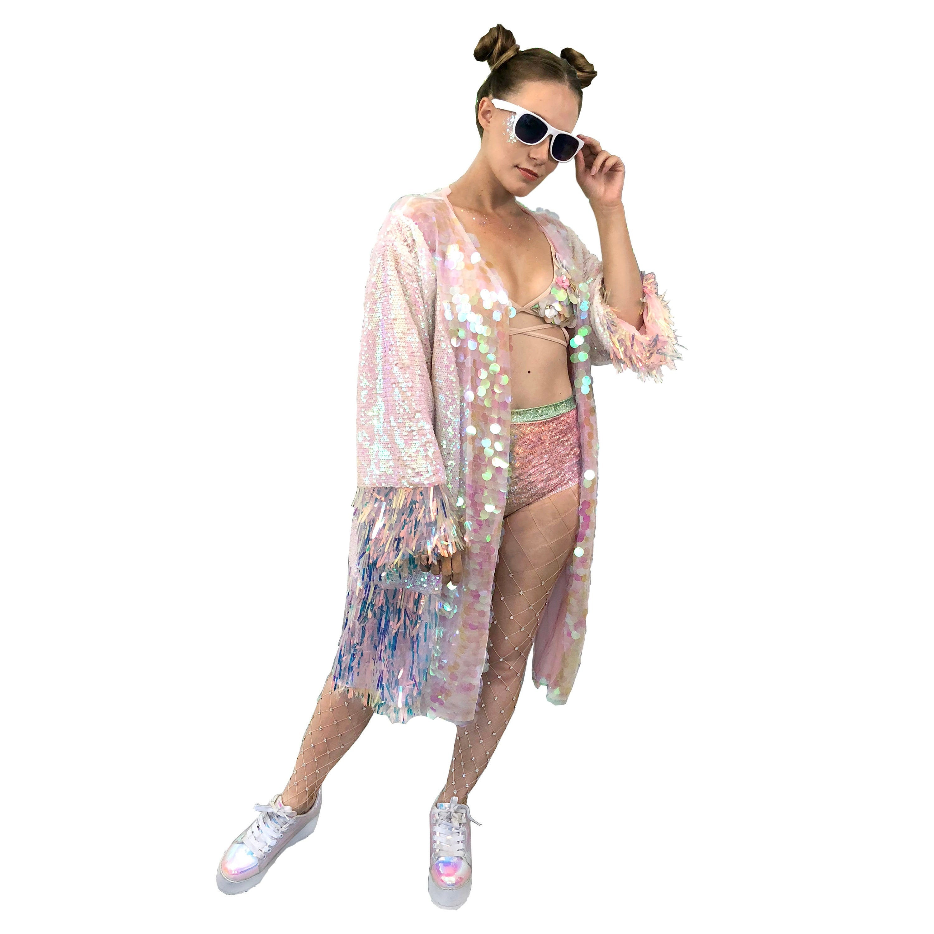 c98123bed17 Sequin Kimono Pink Rave Outfit / Music Festival / EDC / | Etsy