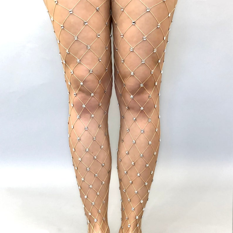 1a7b37b8171f4 Rave Festival Fishnet Tights Clear Round Crystal Rhinestones | Etsy