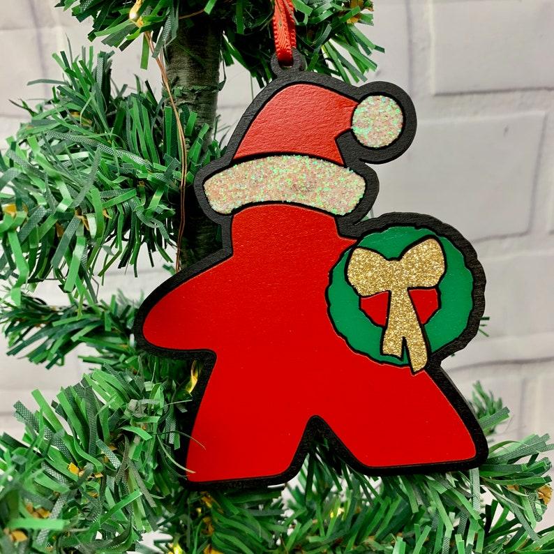 NEW DESIGN Santa Meeple Meeple Christmas Ornament Game image 0