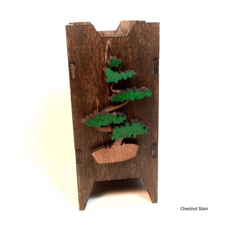 Tree Dice Tower Asian Themed Dice Tower Wood Dice Tower image 0
