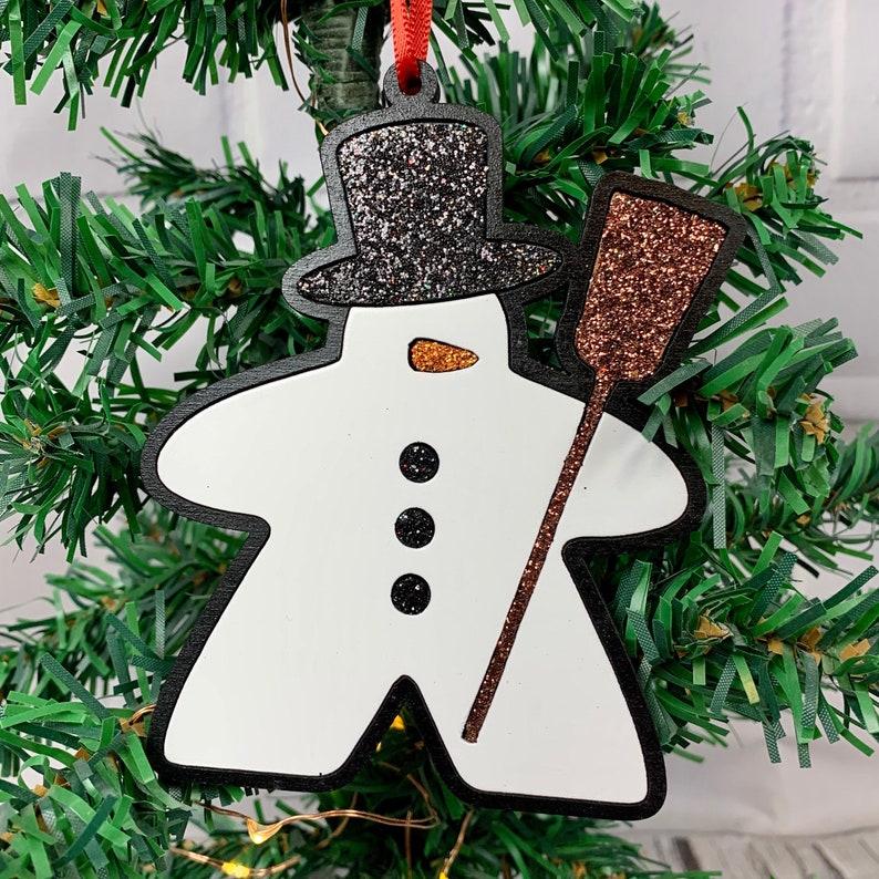 NEW DESIGN Snowman Meeple Meeple Christmas Ornament Game image 0