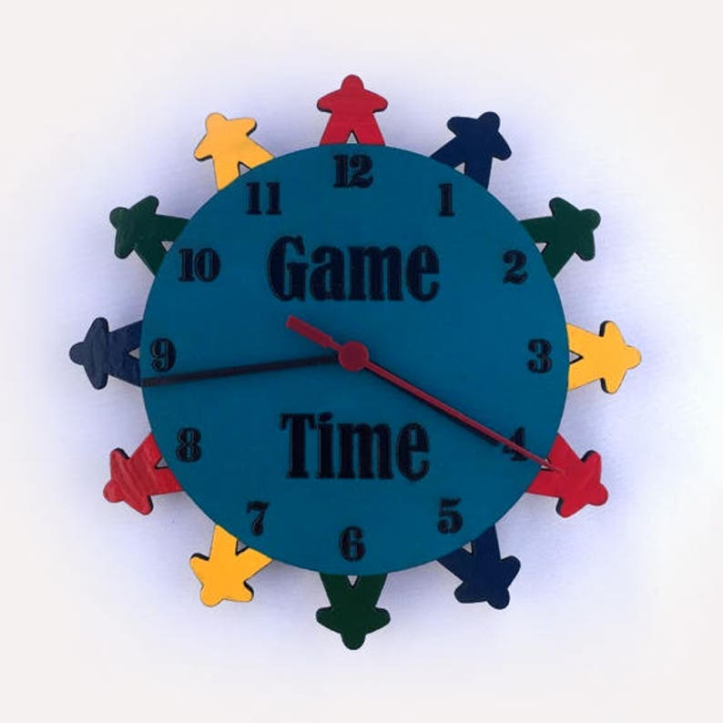 Meeple Clock Game Room Clock Clock Meeple Game Room Decor image 0