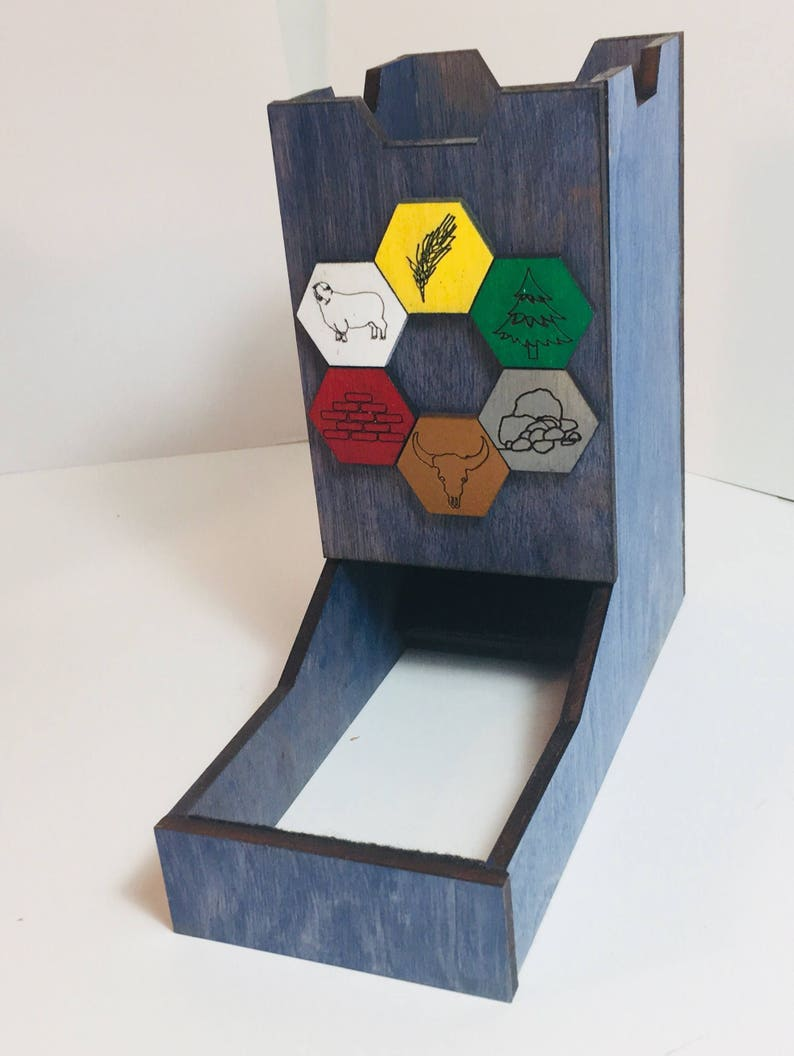 Wood Dice Tower Catan Themed Dice Tower image 0