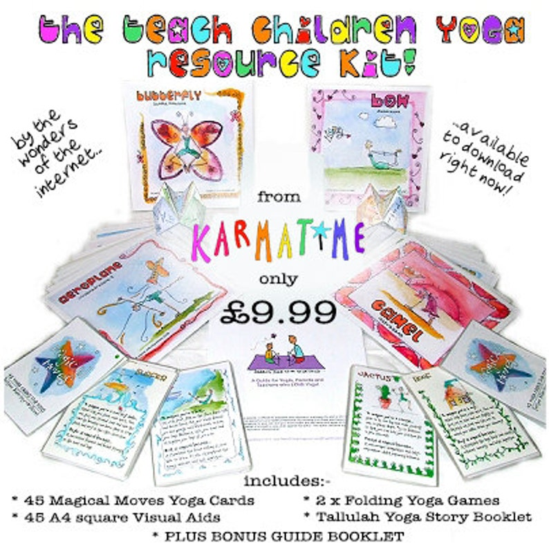 graphic relating to Yoga Cards Printable called Prepare Young children Yoga Software Package towards Karmatime - Magical Yoga for Small children