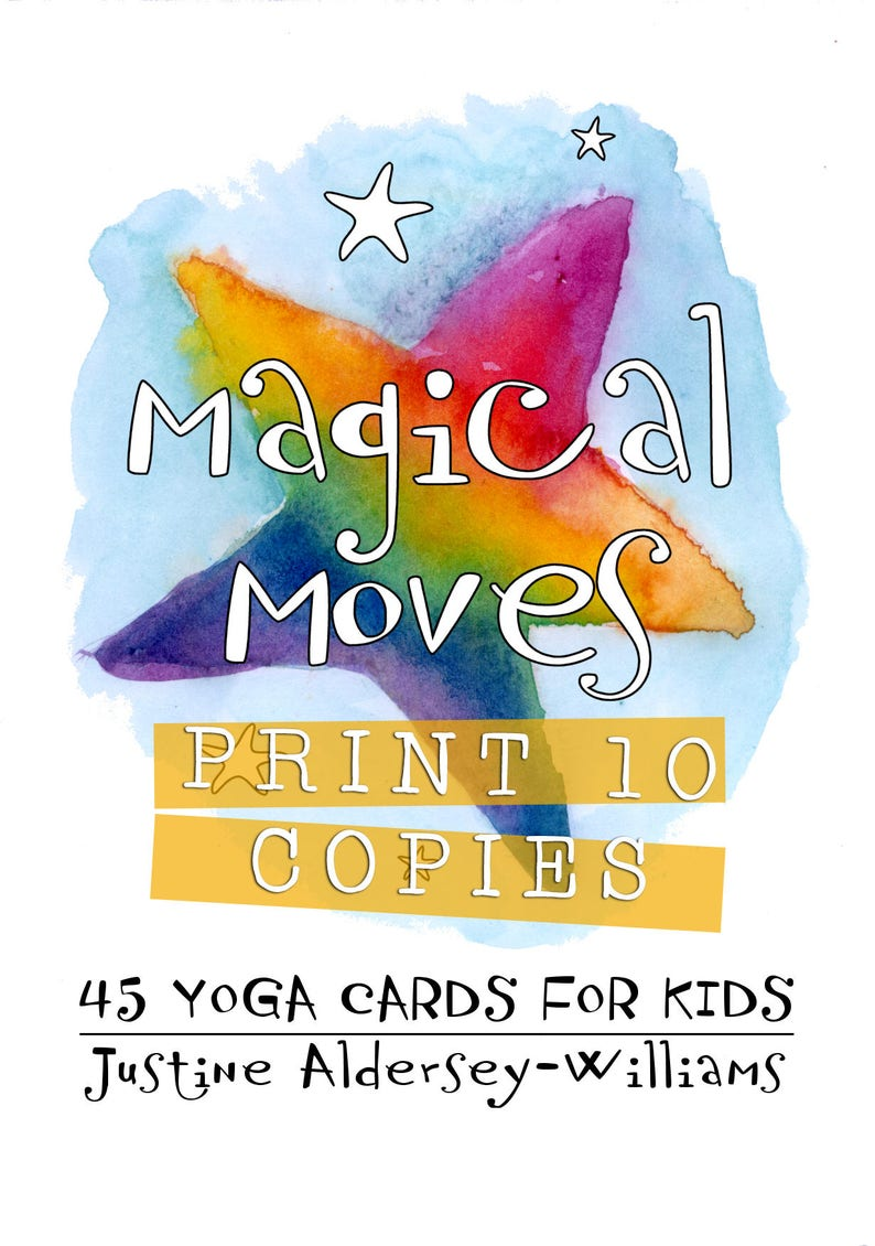 picture about Yoga Cards Printable titled PRINT 10 COPIES of Magical Moves 45 Printable Childrens Yoga Playing cards in direction of Down load - For dad and mom who need in the direction of percentage yoga with their small children
