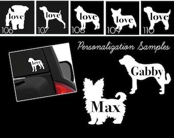 Dog & Cat Breeds Vinyl Car Window Laptop Sticker - Dog Decals - Dog Stickers - Cat Decals - Pet Stickers - Personalized Pet Decals - 102p