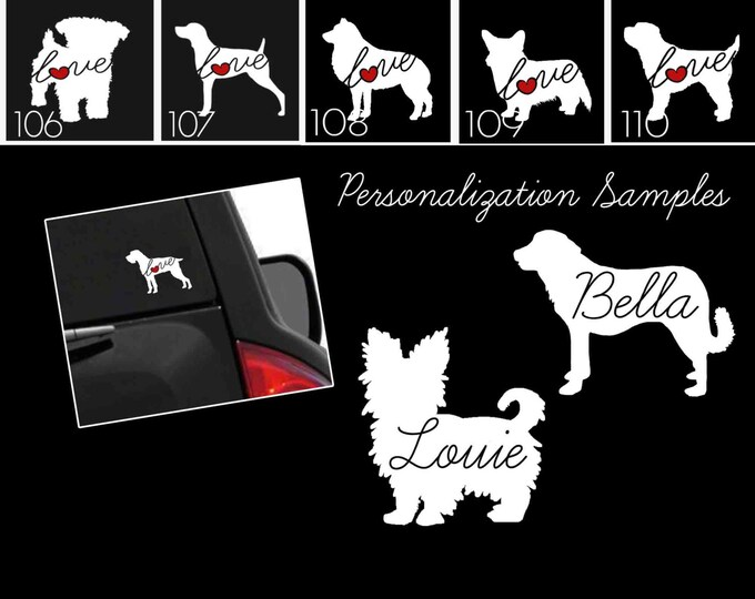 Featured listing image: Dog & Cat Breeds Vinyl Car Window Laptop Sticker - Dog Decals - Dog Stickers - Cat Decals - Pet Stickers - Personalized Pet Decals - 102s