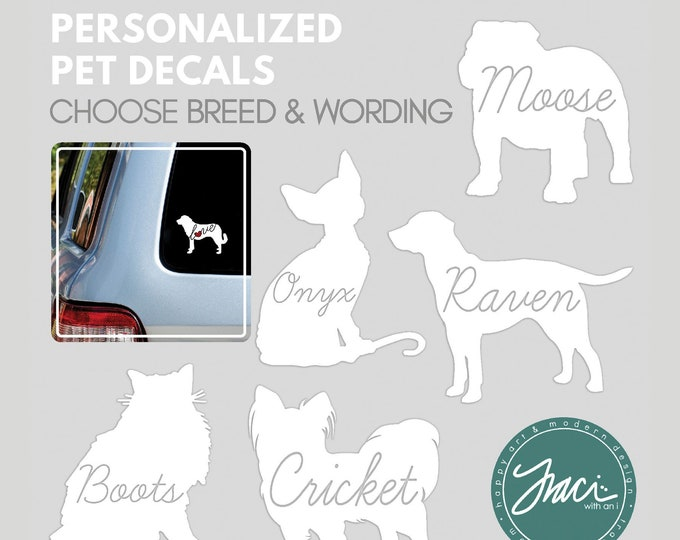 Featured listing image: Dog and Cat Breed Decals / Stickers for Car Window, Mugs, Laptops and More - Script Font