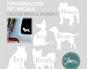 Dog and Cat Breed Decals / Stickers for Car Window, Mugs, Laptops and More - Print Font