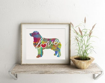 Australian Shepherd / Aussie Art Print - A Watercolor Style Modern Wall Art Print and Gift for Dog Lovers