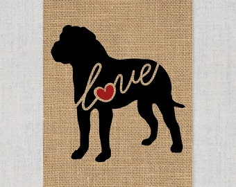 American Bulldog / Bully Love - A Black Customizable, Personalized Burlap Dog Wall Art Home Decor Print Pet Silhouette - Can Add Dog's Name