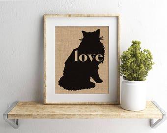 Norwegian Forest Cat Love - A Burlap Print for Cat Lovers - Cat Memorial - Pet Loss Gift - Farmhouse - Rustic - Personalized Wall Art - 101p
