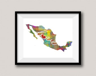 Mexico Love - Colorful Watercolor Style Wall Art Print & Home Country Map Artwork - Travel, Moving, Engagement, Wedding, Honeymoon Gift