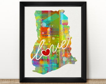 Ghana Love - Colorful Watercolor Style Wall Art Print & Home Country Map Artwork - Adoption, Moving, Engagement, Wedding Gift and More