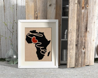 Africa Love - Burlap or Canvas Paper State Silhouette Wall Art Print / Home Decor (Free Shipping)