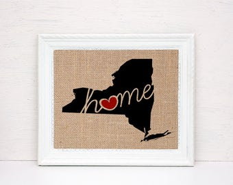 "New York (NY) ""Love"" or ""Home"" Burlap or Canvas Paper State Silhouette Wall Art Print / Home Decor (Free Shipping)"