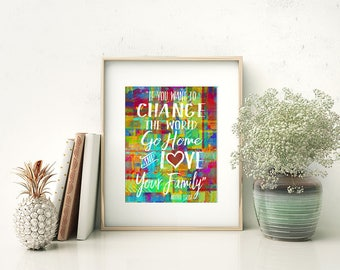 """Mother Teresa Quote Watercolor Style Modern Wall Art, Home Decor Print - """"If You Want to Change the World"""" - Colorful, Whimsical & Bright"""