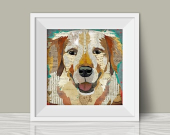 Golden Retriever Art Print - A Mixed Media and Collage Style Modern Wall Art Print and Gift for Dog Lovers