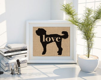 Doodle Love / Labradoodle / Goldendoodle - Burlap Wall Print Decor Gift for Dog Lovers - Personalize Silhouette w/ Name - More Breeds (101p)