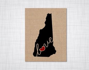 """New Hampshire (NH) """"Love"""" or """"Home"""" Burlap or Canvas Paper State Silhouette Wall Art Print / Home Decor (Free Shipping)"""