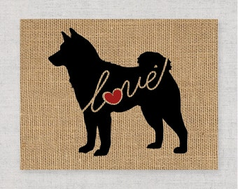 Akita Love - A Burlap Wall Art Print Decor Gift for Dog Lovers - Can Personalize w/ Name - More Breeds Available - Rustic Silhouette (101s)