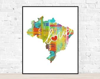 Brazil Love: Instant Digital Download Watercolor Style Wall Art Print