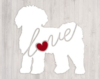 Mini Labradoodle / Goldendoodle Love: A Car Window Vinyl Decal - Laptop Sticker - Dog Breed Decals - Dog Stickers - Cooler Decal