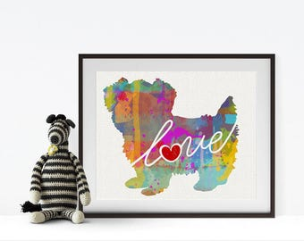 Morkie / Maltese / Yorkie Art Print - A Watercolor Style Modern Wall Art Print and Gift for Dog Lovers