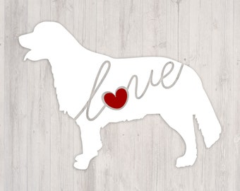 Golden Retriever Love: A Car Window Vinyl Decal - Laptop Sticker - Dog Breed Decals - Dog Stickers - Cooler Decal - Gift for Dog Lover