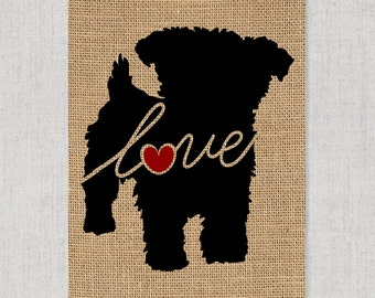 Yorkiepoo (Yorkie / Poodle) - Burlap Dog Breed Wall Art Home Decor Rustic Print - Gift for Dog Lovers - Can Be Personalized with Name (101s)