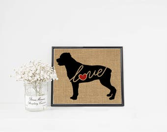 Rottweiler / Rottie Love - Burlap or Canvas Paper Dog Breed Home Decor Print Gift for Dog Lovers - Can Be Personalized with Name (101s)