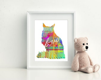 Maine Coon Cat Art Print - A Watercolor Style Modern Wall Art Print and Gift for Cat Lovers