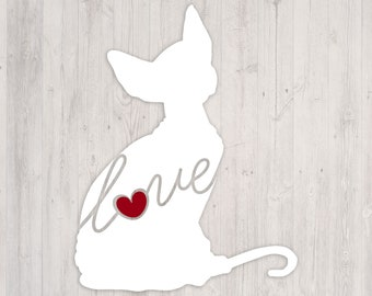Sphynx Cat Love: A Car Window Vinyl Decal - Laptop Sticker - Cat Breed Decals - Cat Stickers - Cooler Decal - Gift for Cat Lover