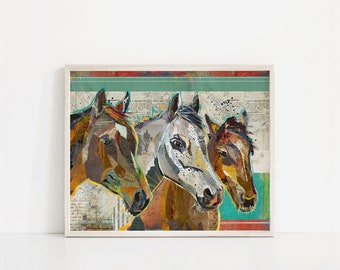 Three Horses Farmhouse Style Collage Art Print - A Whimsical and Colorful 8x10 or 11x14 Home & Wall Decor Fine Art Print for Horse Lovers