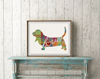 Basset Hound Love -  A Colorful Watercolor Style Gift for Dog Lovers - Wall Decor Dog Breed Print That Can be Personalized With Pet's Name