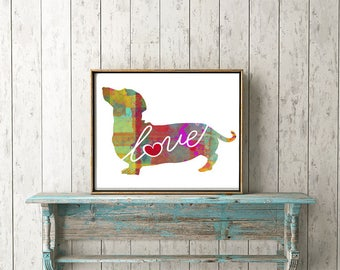 Dachshund / Wiener Dog Art Print - A Watercolor Style Modern Wall Art Print and Gift for Dog Lovers