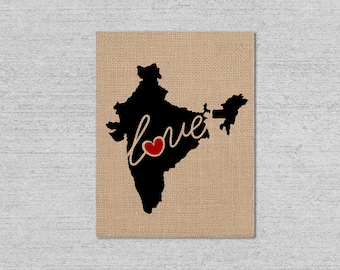 India Love - Burlap or Canvas Paper State Silhouette Wall Art Print / Home Decor (Free Shipping)