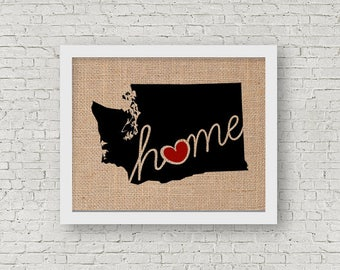 """Washington (WA) """"Love"""" or """"Home"""" Burlap or Canvas Paper State Silhouette Wall Art Print / Home Decor (Free Shipping)"""