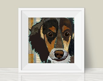Long Haired Dachshund Art Print - A Mixed Media and Collage Style Modern Wall Art Print for Wiener Dog Lovers