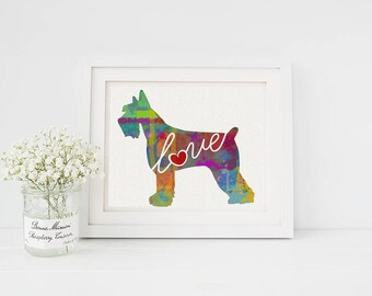 Giant Schnauzer Art Print - A Watercolor Style Modern Wall Art Print and Gift for Dog Lovers