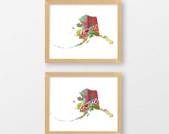 Alaska Love & Home: Instant Digital Download Watercolor Style Wall Art Print