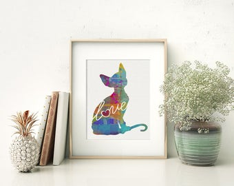 Sphynx Cat Art Print - A Watercolor Style Modern Wall Art Print and Gift for Cat Lovers