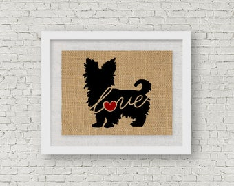 Yorkshire Terrier / Yorkie With Short Hair - Burlap Wall Art Gift for Dog Lovers - Personalize Silhouette w/ Name - More Breeds (101s)