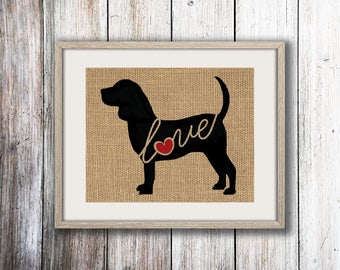 Beagle Love - A Burlap Wall Art Print Home Decor Gift for Dog Lovers - Personalize w/ Name - More Breeds - Rustic Silhouette (101s)