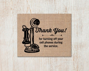 Thank You for Turning off Telephone Print: A Vintage Inspired, Retro Sign Perfect for a Special Event (Weddings / Graduations / Parties)